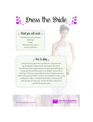 Dress The Bride Free Hen Party Game