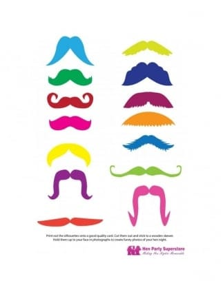 Hen Party Game / Hen Night Games Coloured Moustache Template- Printable