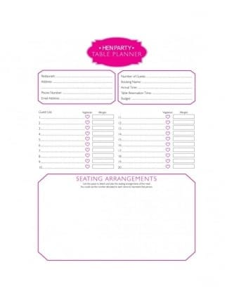 Free Hen Party Table Planner