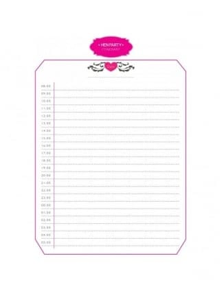 Hen Party Planning Itinerary / Hen Party Printable