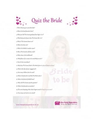 Quiz The Bride Free Hen Party Game