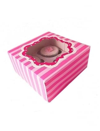 x2 Striped Pink Hen Party Cupcake Boxes
