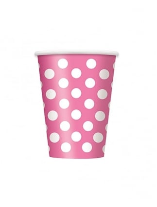 X6 Spotty Cups Hen Party Polka Dot Paper Cups