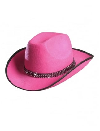 87922f409a6 Hen Party Pink Cowgirl Hat With Diamante Jewels