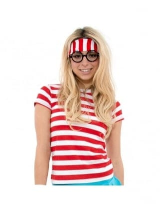 Book Character Fancy Dress Striped Red/White Style T-Shirt