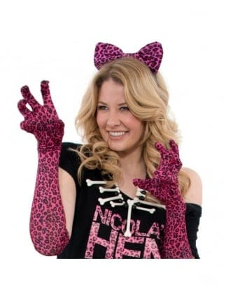 Hen Party Fancy Dress Pink Leopard Print Gloves