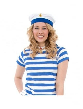 Sailor Girl Fancy Dress Striped Blue/White Style T-Shirt