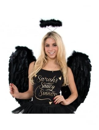 Fancy Dress Hen Party Large Feather Angel Wings-Black