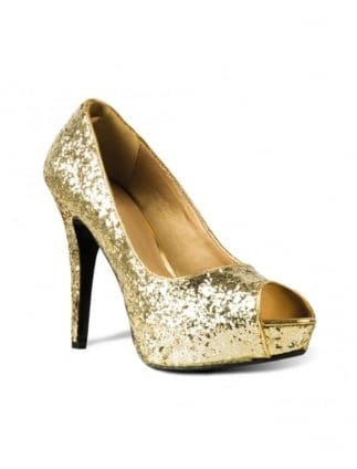 Fancy Dress Ladies Gold Glitter Open Toe Shoes