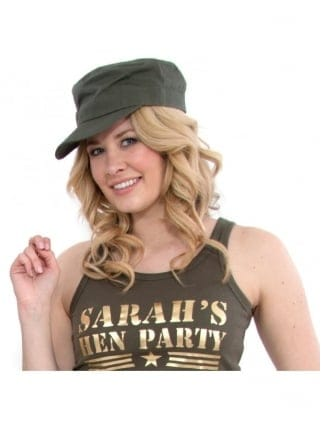 Quality Plain Green Army Fancy Dress Cap/Hat