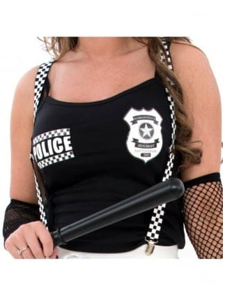 Black & White Police Fancy Dress Braces