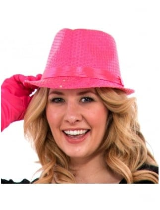 Neon Fancy Dress Sequin Fedora Hat