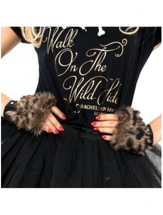 Hen Party Fancy Dress Leopard Print Gloves With Fur