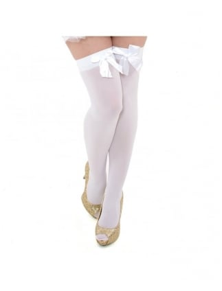 Fancy Dress White Stockings With White Bows