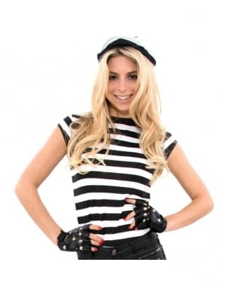 Fancy Dress Convict Black / White Striped T-Shirt