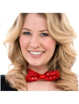 Fancy Dress Sequin Red Bow Tie