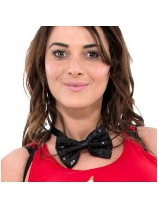 Fancy Dress Sequin Black Bow Tie