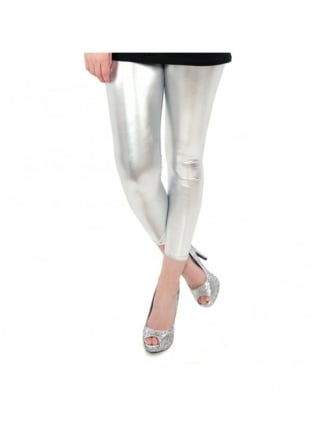 Fancy Dress Silver Metallic Leggings