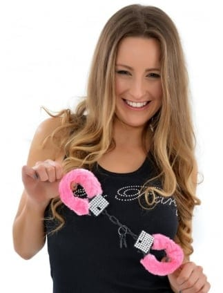 Dazzling Diamante Pink Fluffy Handcuffs