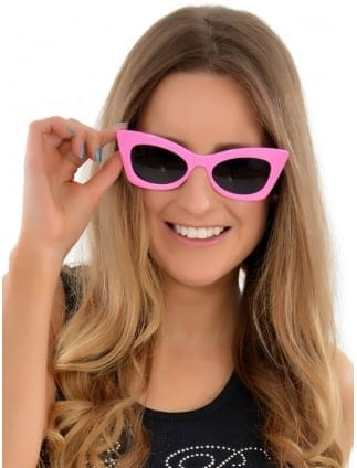 Pink Ladies Hot Pink Glasses, Grease 50s Style
