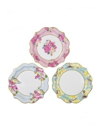 Vintage Paper Plates Pack Of 12 With 3 Designs