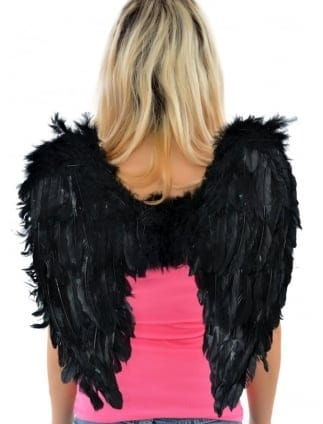 Black Feather Fancy Dress Wings / Hen Party Angel Wings