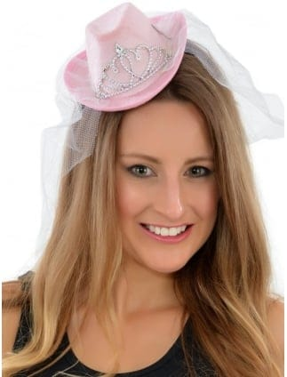Mini Cowgirl Hen Party Hat With Veil