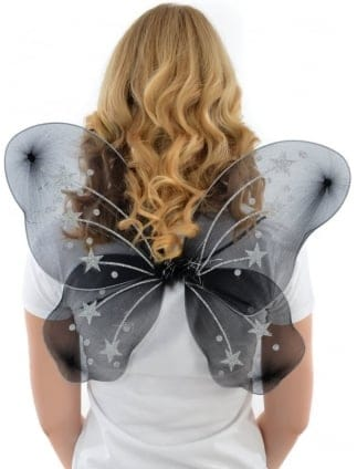 Black/Silver Hen Party Fancy Dress Angel Wings