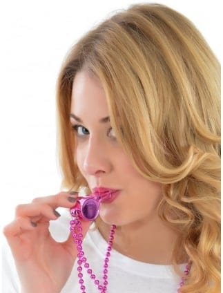 Hen Party/ Hen Night Pink Metallic Whistle On Necklace