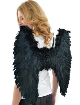 Fancy Dress Large Black Feathered Angel Wings