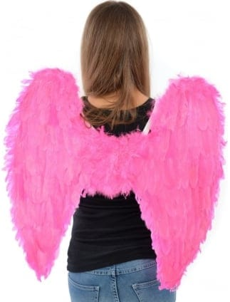 Fancy Dress Large Pink Feather Angel Wings