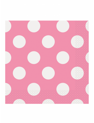 Polka Dot Lunch Napkins Pack Of 16 Hot Pink