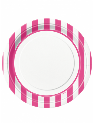 "Striped Paper Plates 9"" Hot Pink"