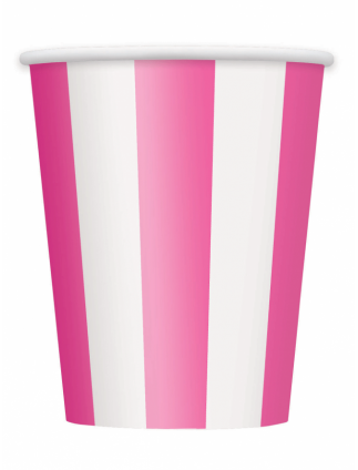 Striped Paper Cups 12oz Pack Of 6 Hot Pink