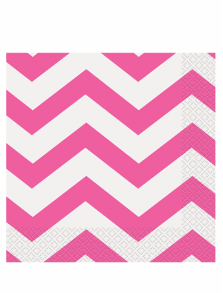 Chevron Lunch Napkins Pack Of 16 Hot Pink