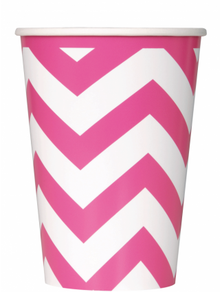 Chevron 12oz Cups Pack Of 6 Hot Pink