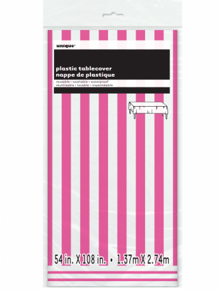 "Striped Plastic Tablecover 54"" x 108"" Hot Pink"