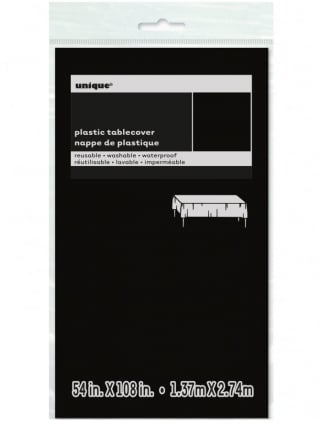 "Tablecover Plastic 54"" x 108"" Black"
