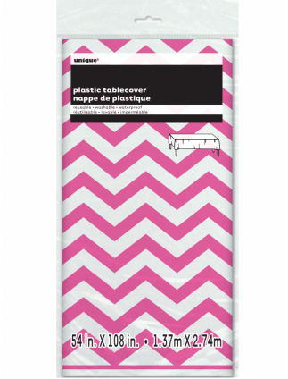"Chevron Plastic Tablecover 54"" x 108"" Hot Pink"