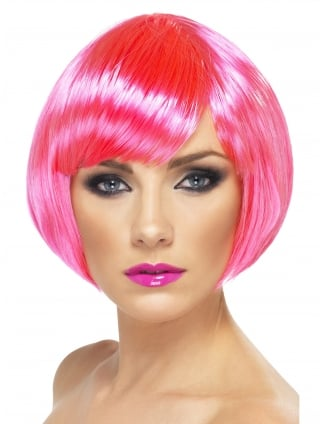 Neon Pink Fancy Dress Bob Wig