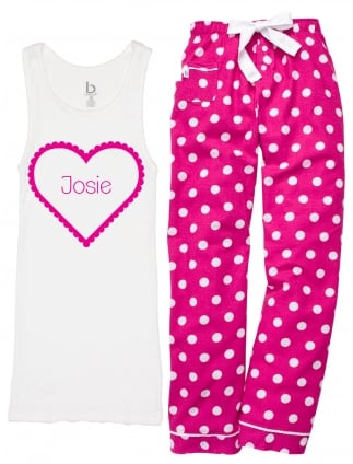 Slumber Heart Print 'Any Name' Hen Party Pyjamas