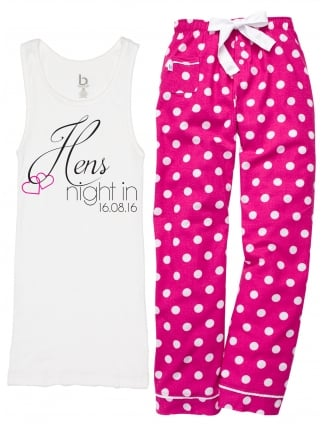 Hens Night In Pyjamas White