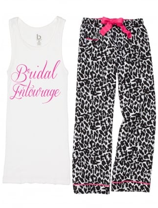 Animal Print Classy 'Slogan' Hen Party Pyjamas White