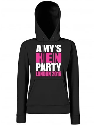 Block Design Personalised Hen Party Hoodie
