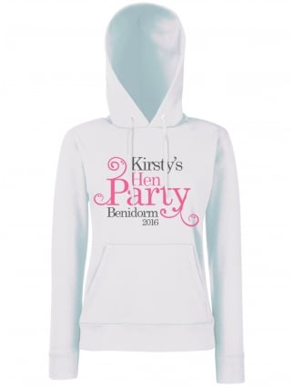Swirly Hen Party Personalised Hoodie