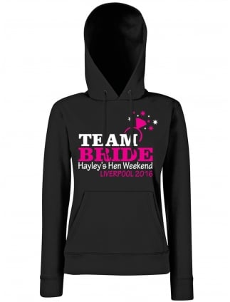 Team Bride Personalised Hen Party Hoodie