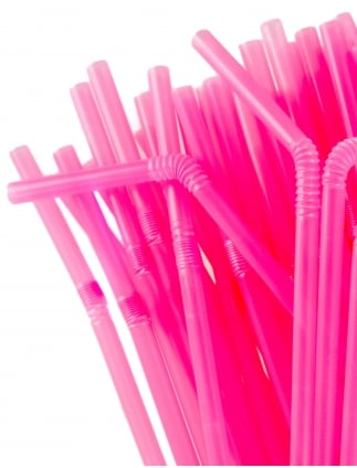 x50 Pink Hen Party Flexible Straws
