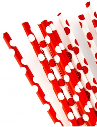 Hen Party Red / White Spotted Straws