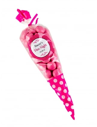 x1 Personalised Hen Party Favour kit, Spotty Dotty Sweetie Cone