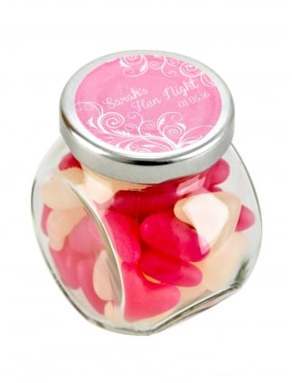 X1 Personalised Hen Party Favour kit, Scrumptious Tilt Treat Jar